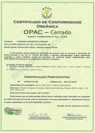Certificação Orgânica da Fazenda Amigos do Cerrado (2017)